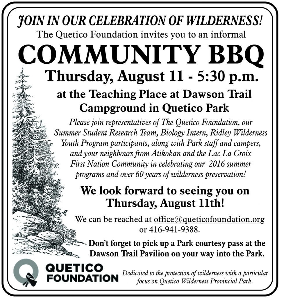 Quetico Foundation BBQ 2016 Atikokan Progress