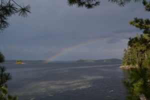 Storm blowing in with rainbow, Pickerel Narrows