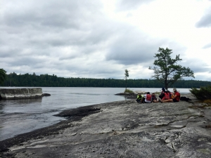 Enjoying the fresh air and surroundings at a great lunch spot in Quetico