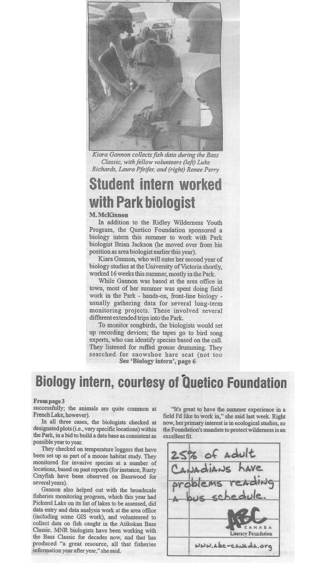 Biology Intern 2015 Atikokan Progress