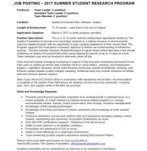 quetico foundation student summer research program job