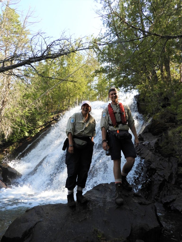 Cat Langille and Jared Walter Stachiw (QPP Assistant Biologists) at Louisa Falls. Credit: Jill Legault.